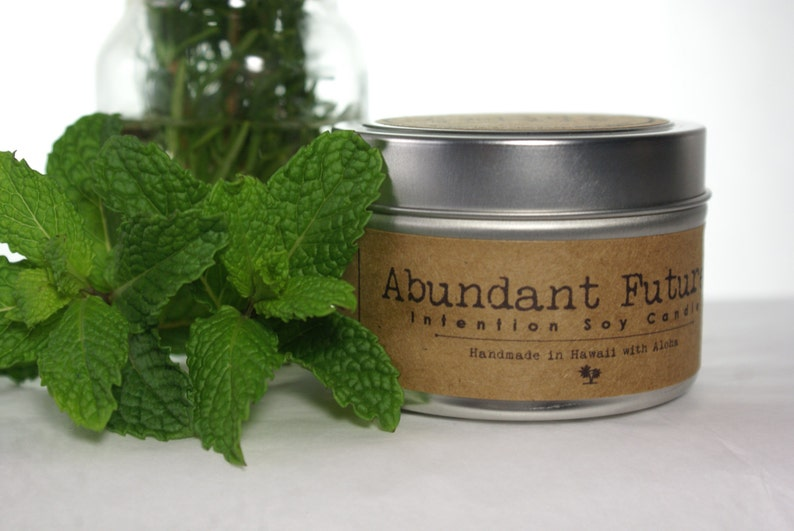 Abundant Future Soy Intention Candle 4oz. Travel Tin Rosemary image 0