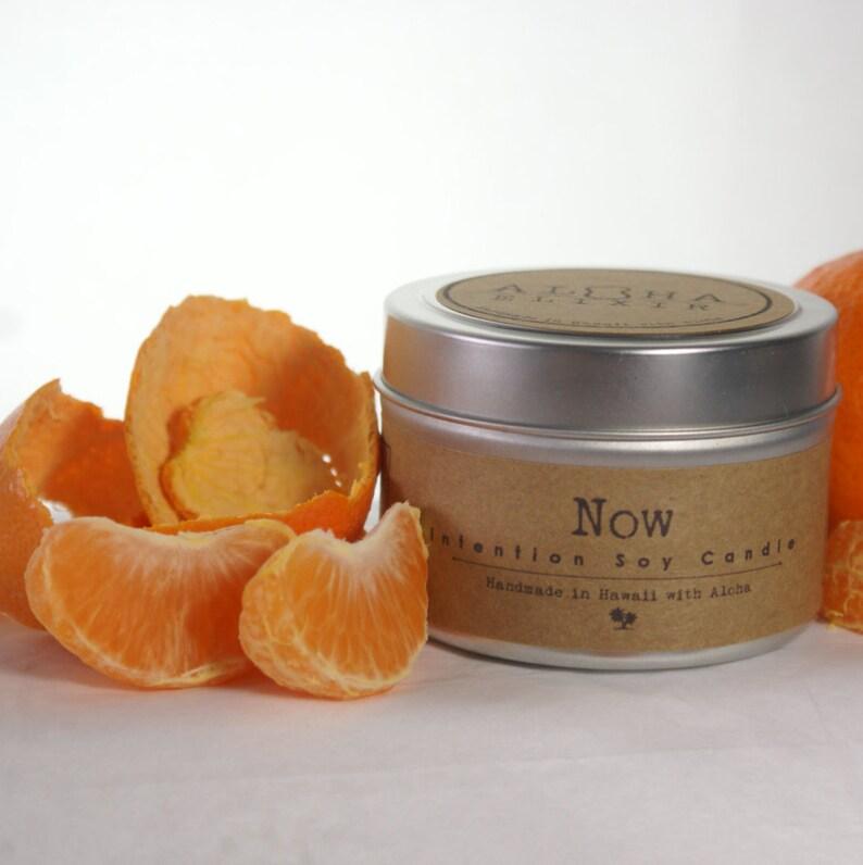NOW Soy Intention Candle 4oz. Travel Tin Sweet Orange image 0