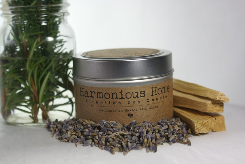 Harmonious Home Soy Intention Candle 4oz. Travel Tin Lavender image 0