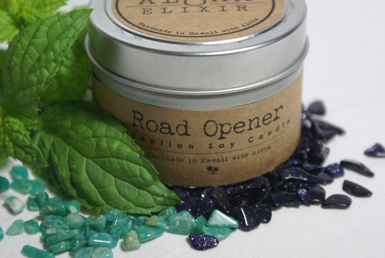 Road Opener Soy Intention Candle 4oz. Travel Tin Eucalyptus image 0