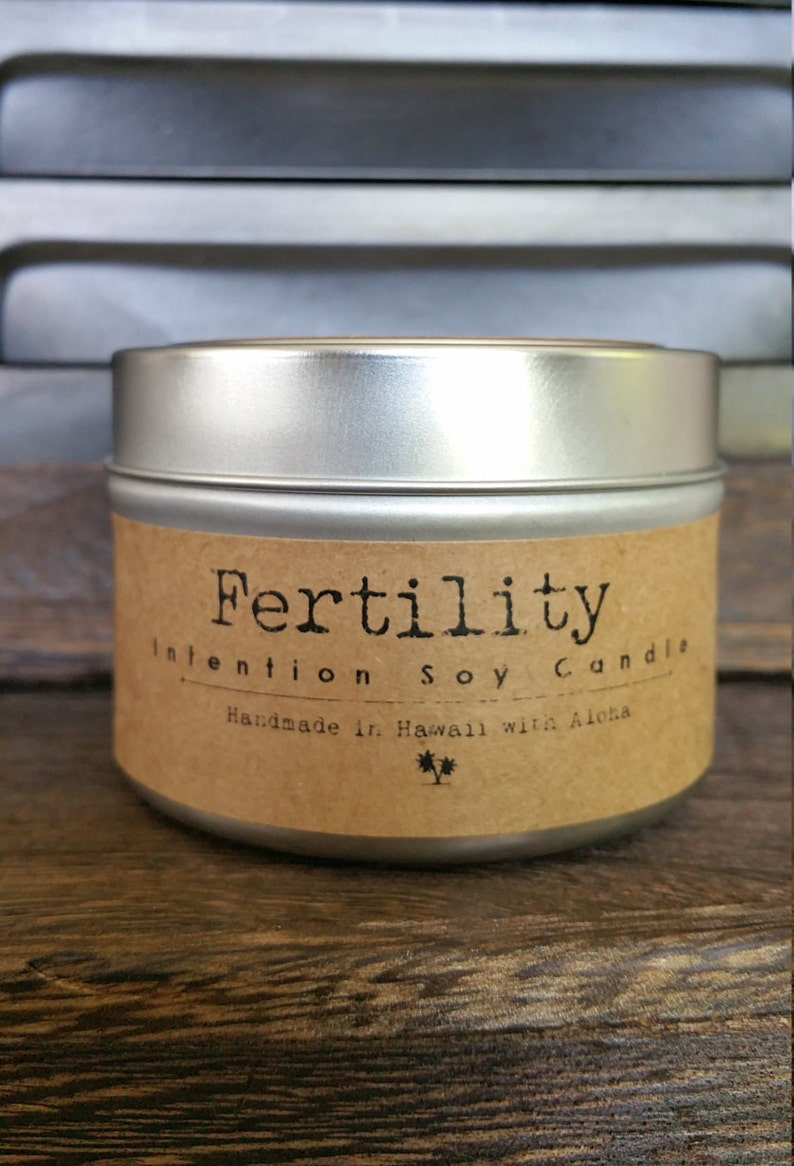 Fertility Soy Intention Candle 4oz. Travel Tin Red Currant image 0