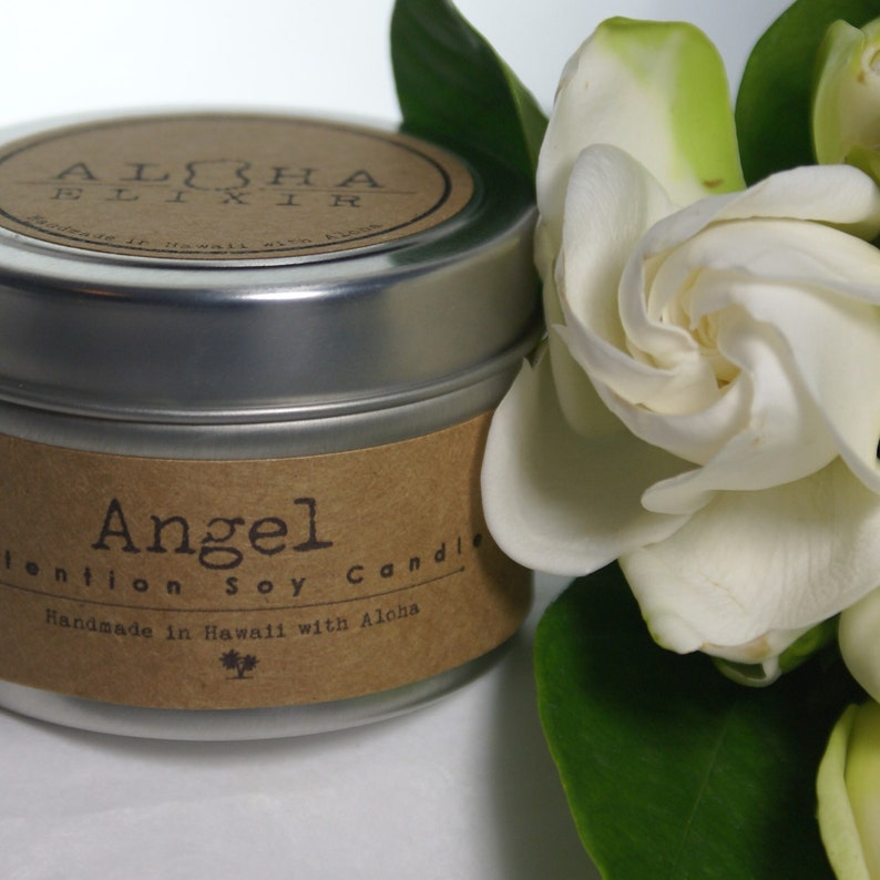Angel Soy Intention Candle 4oz Travel Tin Gardenia Angel Oil image 0