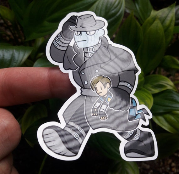 Large Weatherproof Resident Evil 2 Re2 Mr X And Leon Sticker Etsy