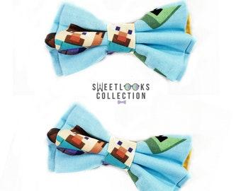 """handmade 4/"""" Ro Blox//gamer hair bow on a clip"""