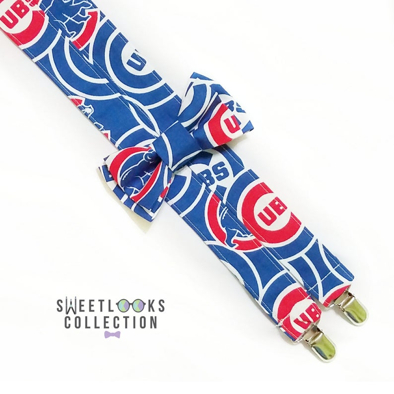 Chicago Cubs Suspenders and Bow Tie (or Hair Bow)  Blue and Red Braces   Unique Accessories for Groomsmen  Coach Gift  Big and Tall
