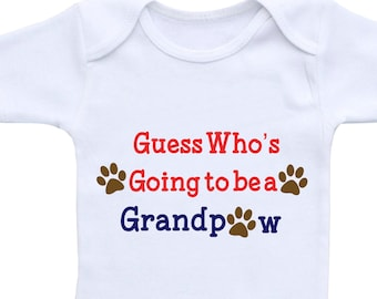 Dog Grandparent Baby Shirt or Gerber Onesie® New Dog Announcement Onesie New Puppy Announcement Dog Grandpaw Dog Grandpa Paw Onesie Granddog