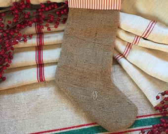 Handmade Antique French Linen & Burlap Stocking - Fully Lined - Red Stripe #10