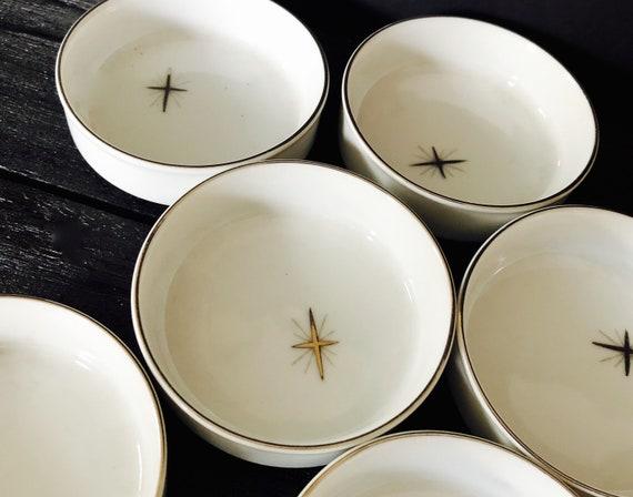 Pattern Number 713; Fukagawa Cross Star; Eames Era; Atomic Era; Starburst; 1950s Mid-Century Fukagawa Arita Cross Star Pattern Ashtrays
