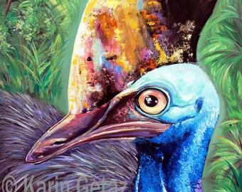 cassowary wall decor, tropical art print, cassowary painting, tropical painting, australian art, cassowary art, cassowary print,