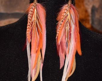 Firelight ~ Feather Earrings