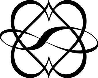 Infinite double heart polyamory vinyl decal
