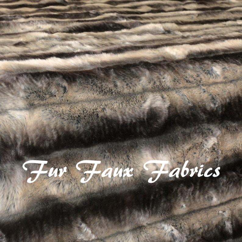 Silver Chinchilla Gray Black Stripe Fur Faux Fabric By The Yard Remnants  Shag Furs Animal Supply Crafts Fake Sheepskins Fabrics 60 width