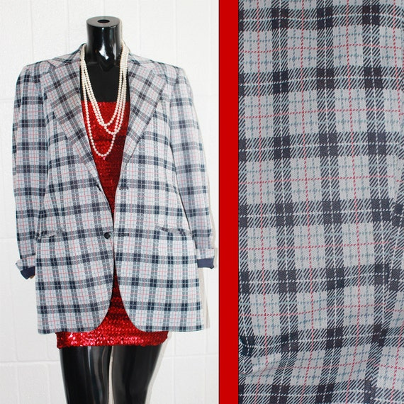Vintage Men's Gray, Navy, and Red Plaid Blazer