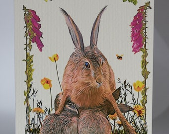 """Hare and leverets - 5"""" x 7"""" greetings card c/w with white envelope and packed in cellobag"""