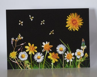 """Spring Flowers - 5"""" x 7"""" greetings card c/w with white envelope and packed in cellobag"""