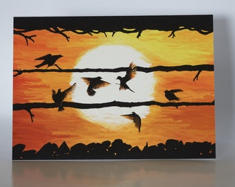 """The Crows - 5"""" x 7"""" greetings card c/w with white envelope and packed in cellobag"""