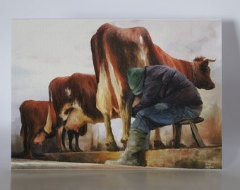 """The Milking Byre - 5"""" x 7"""" greetings card c/w with white envelope and packed in cellobag"""