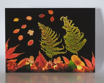"""Autumn Leaves and Berries - 5"""" x 7"""" greetings card c/w with white envelope and packed in cellobag"""