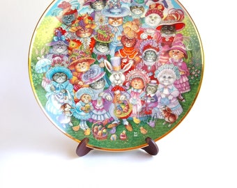 Easter Cats Porcelain Plate Franklin Mint with Certificate of Authenticity Vintage Easter Purrade Heirloom Collector Plate by Bill Bell