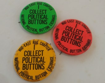 """National Political Button Exchange Pin Mid-East Reg Chapter """"I COLLECT POLITICAL BUTTONS"""" Green Red Orange Circa 1970s Vintage Collectible"""