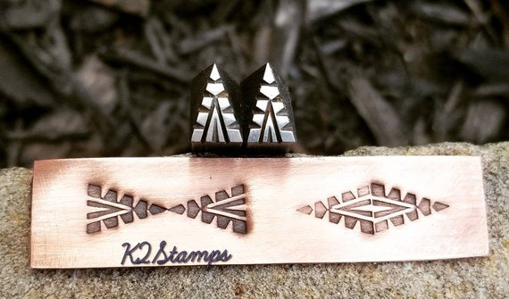 Navajo Stamping Southwest Handmade tribal Chasing Glass Silversmith leather Metalstamp Jewelry Copper Tool. Leather Decorative