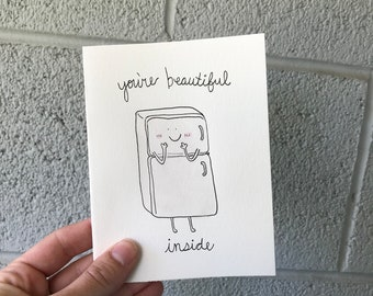 ANNIVERSARY, WEDDING, VALENTINE handmade card- You're Beautiful Inside