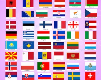 9d61eb16ea3 Europe countries   Europe country Flags   country flag   300DPI   Vector  flags   flag clipart and silhouette   printable flag  digital flag