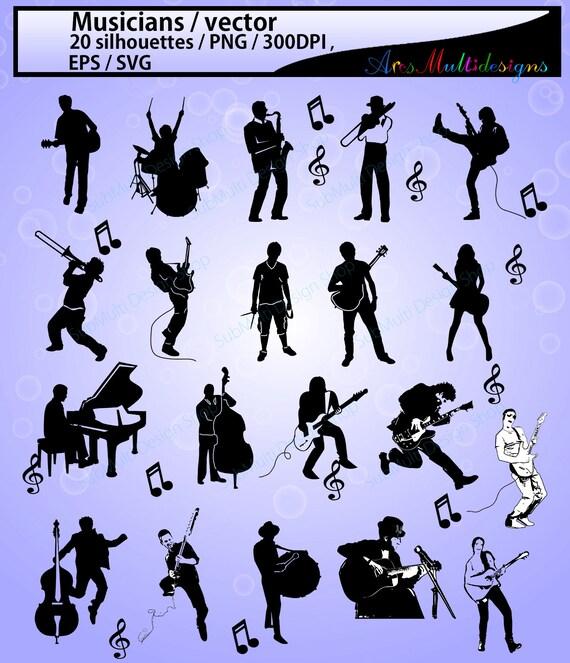 musicians svg musicians silhouette musicians clipart etsy