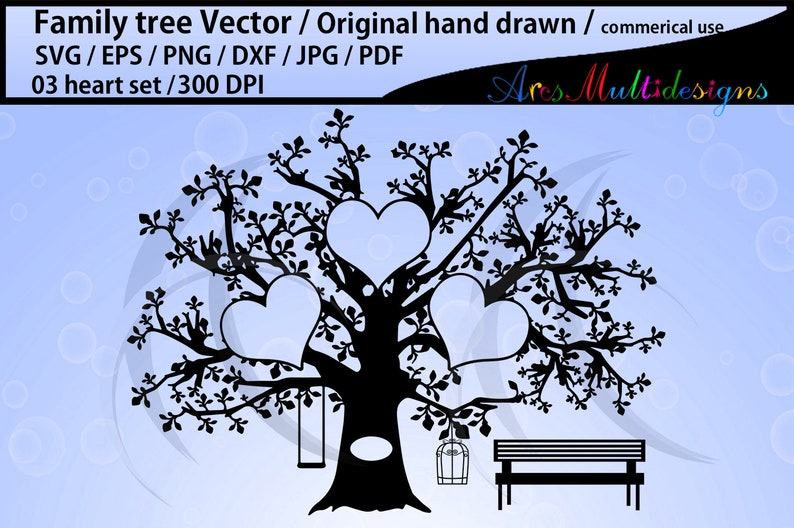 3 hearts family tree clipart SVG, EPS, Dxf, Png, Pdf, Jpg /family tree  silhouette /hand drawn tree svg vector / Commerical & personal use