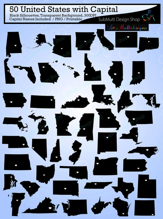 50 united states map with capital / states with capital map /Us map  silhouette / SVG / EPS / PNG / state names / state to state