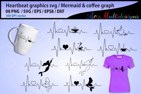Mermaid Heart Beat Svg Coffee Heart Beat Svg Heartbeat Etsy