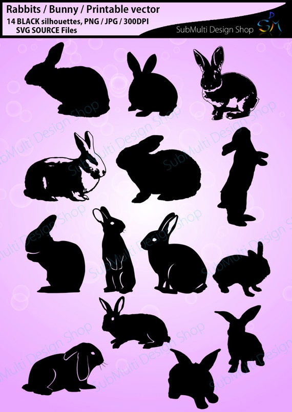 image relating to Printable Bunny identify Rabbit Silhouette / vector rabbit / Bunny Silhouettes / Higher