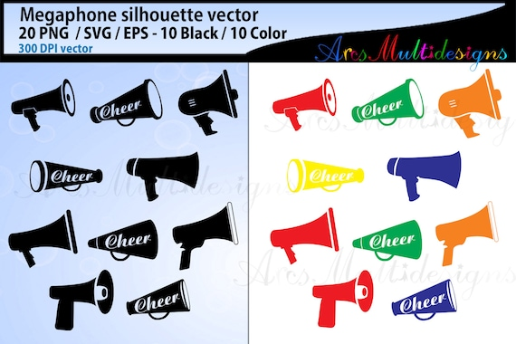 megaphone vector silhouette svg megaphone megaphone vector icon loudspeaker vector audio vector svg eps png colored and black set by arcsmultidesignsshop catch my party catch my party