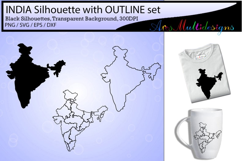 Indian states map outline / india map silhouette / india map outline vector  / SVG / EPS / PNG / High Quality