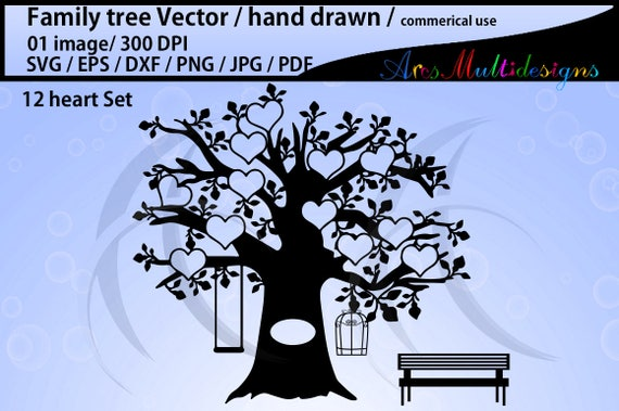 EPS Png 12 hearts family tree clipart SVG J family tree silhouette hand drawn tree svg vector  Commerical /& personal use Pdf Dxf