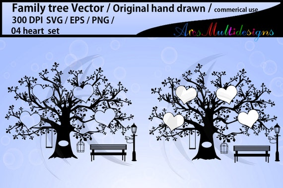 4 Hearts Family Tree Svg Jpg Pdf Png Template Print At Home