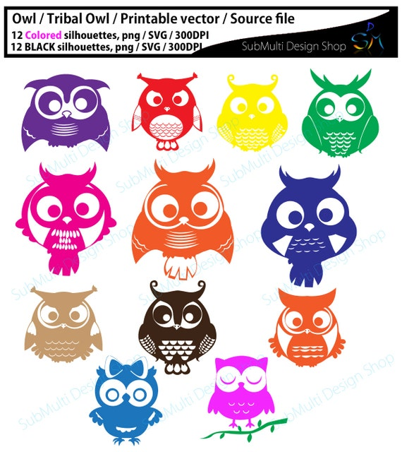 Owl Clipart Owl Silhouette Source File Svg Vector Owl Etsy