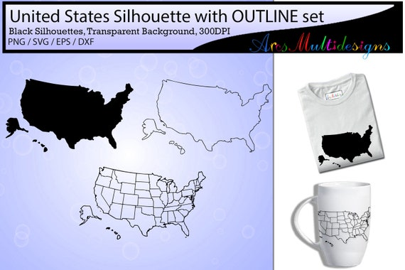 united states map outline / united states map silhouette /Usa map ...