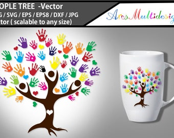 people tree vector clipart / people tree silhouette / hand prints SVG cut file