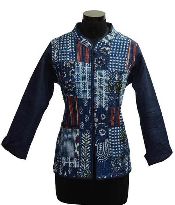4a6f3fbf61e3 Indigo Patch Work Block Printed Quilted Jacket