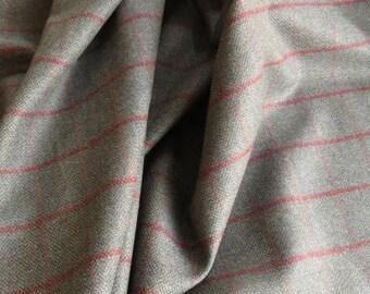 Greyish Green Tweed Wool Fabric By The Yard