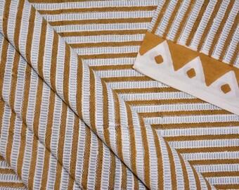 MUSTARD COTTON geometric block print fabric