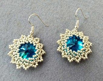 Silver and Blue Seed Bead Earrings, Wedding Earrings, Mothers Day Gift, Rivoli Earrings, Seed Bead Jewelry, Floral Earrings, Round Earrings