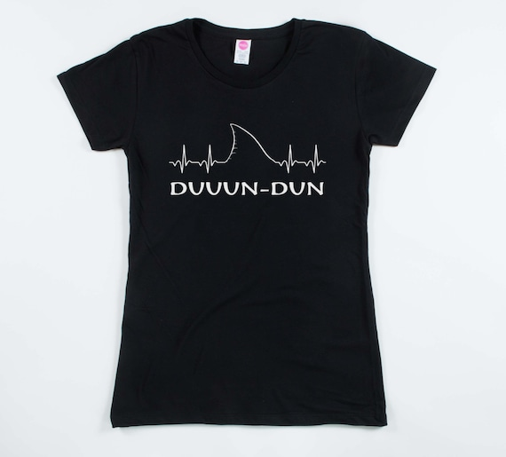 Women/'s Dun Dun Dun Cool Graphic Shark T Shirt Great White Jaws Ladies Fish Tee