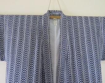 Vintage Japanese cotton yukata white color flower pattern kimono robe nightwear 11FEBRUARI01-08