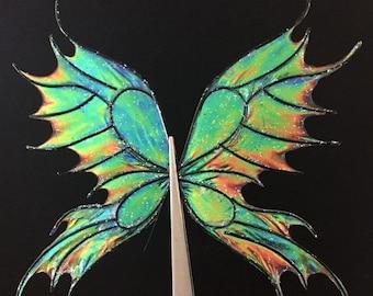 Oil Slick Dark Rainbow Fairy Doll Wings, Iridescent Fairy Wings for Dolls