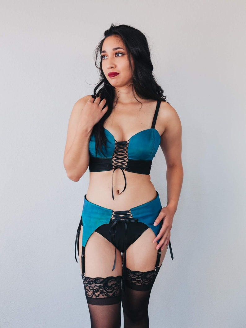 1adbfcac3484c6 Teal Lace Up Bralette Sexy Bustier Bralette Push Up Bra