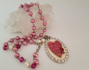 rosary style necklace, pink, heart, crystal