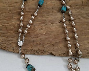 cowgirl inspired. long necklace, turquoise, pearls, crystal, Swarovski