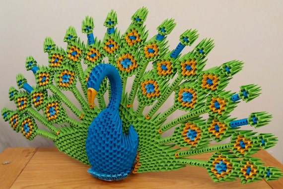 Peacock 3D Origami : 8 Steps (with Pictures) - Instructables | 381x570